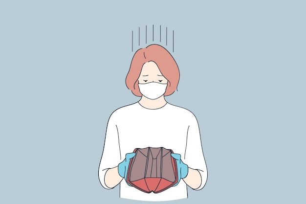 Sad woman in protective latex gloves and medical face mask