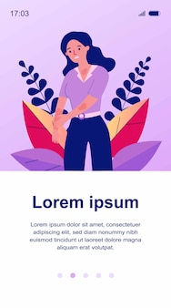 Sad woman scratching skin. female character suffering from strong eczema or allergy.  illustration for disease, dermatology, sickness, symptoms concept