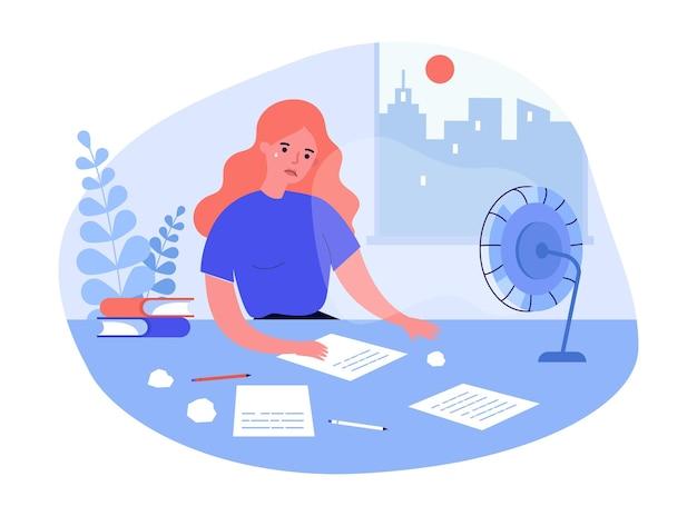 テーブルに座って書いている悲しい女性。机の上の紙、しわくちゃの紙、気になる女性キャラクターフラットベクトルイラスト。創造性の危機、バナーのジャーナリズムの概念、ウェブサイトのデザイン