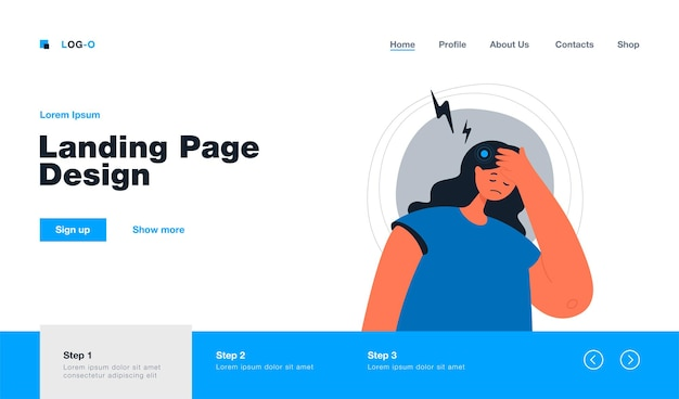 Sad woman suffering from headache landing page in flat style