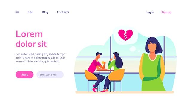 幸せなカップルの近くに立っている失恋の悲しい女性。デート、女の子、ガールフレンド。ウェブサイトのデザインやウェブページのランディングのための愛と関係の概念