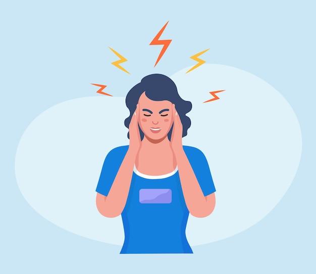 두통이 심한 슬픈 여자, 피곤하고 지친 소녀가 머리를 손에 들고 있습니다. 편두통, 만성 피로 및 신경 긴장, 우울증, 스트레스 또는 독감 증상