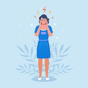 두통이 심한 슬픈 여자, 피곤하고 지친 소녀가 머리를 손에 들고 있습니다. 편두통, 만성 피로 및 신경 긴장, 우울증, 스트레스 또는 독감 증상.