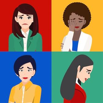 Грустные женщины или несчастные люди изолировали мультипликационный персонаж