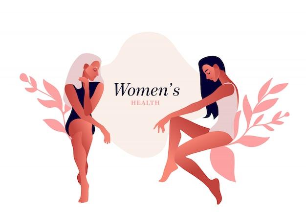 Sad women. urinary incontinence, cystitis, involuntary urination woman vector illustration