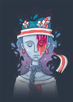 悲しい少女、家庭内暴力の概念図。性差別と暴力の犠牲者の社会問題。