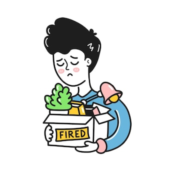 Sad young man holding stuff in box with fired sign