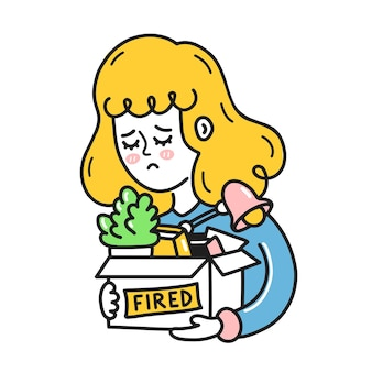 Sad young woman holding stuff in box with fired sign