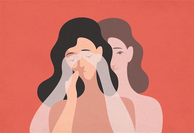 Грустная молодая женщина с опущенной головой и ее призрачный близнец стоит позади и закрывает глаза руками. понятие самообмана, отрицание реальности, рационализация. современная плоская иллюстрация.