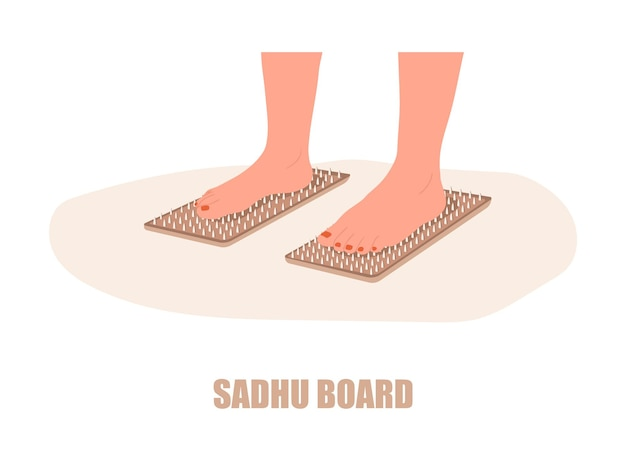 サドゥーボード。女性の足は爪の上に立っています。