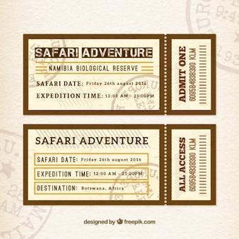 Safari adventure tickets in flat design