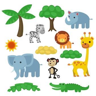 サファリアフリカ動物ワイルドアート。クリップアート野生生物ジャングル。