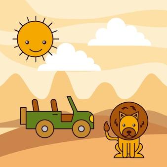 Сафари африка лев джип пустыня солнце