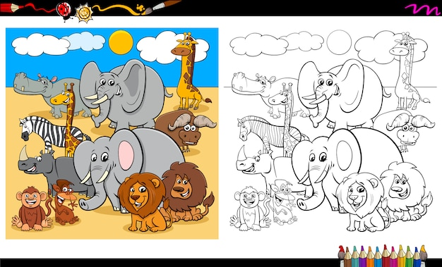 Safari animal characters group coloring book