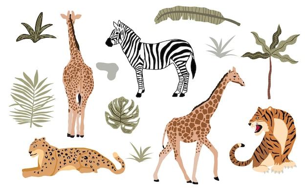 Коллекция объектов сафари животных с леопардом, тигром, зеброй, жирафом. иллюстрация для значка, наклейки, для печати