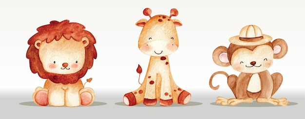 Сафари животных набор акварель иллюстрации