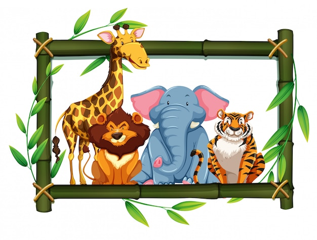 Safari animals on bamboo frame