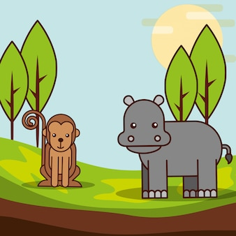 Safari animals cartoon