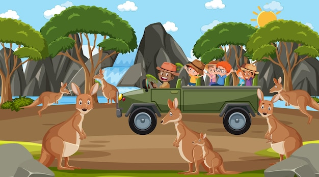 カンガルーグループを見ている子供たちとの昼間のシーンでのサファリ