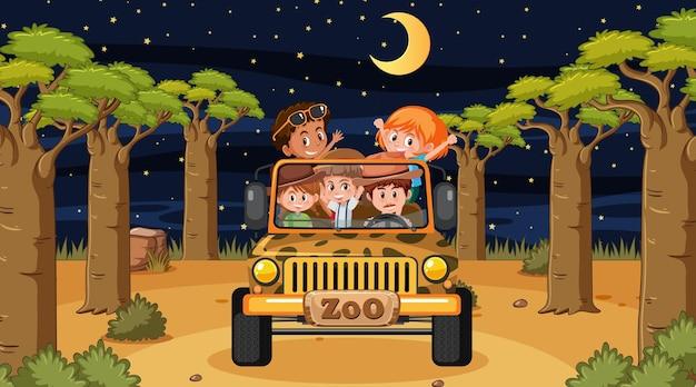 Сафари в ночное время со многими детьми в машине-джипе