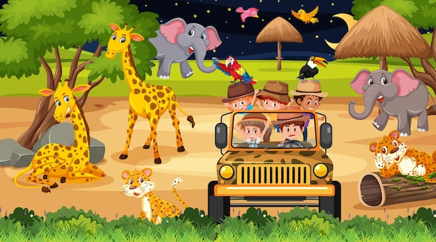 多くの子供たちが動物を見ている夜のシーンでのサファリ