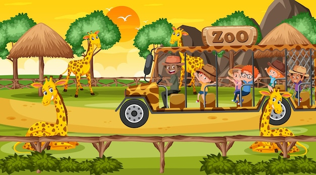 Сафари на закате со многими детьми, наблюдающими за группой жирафов
