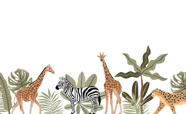 Фон сафари с жирафами, зеброй и гепардом с растениями вокруг мультфильмов на белом фоне