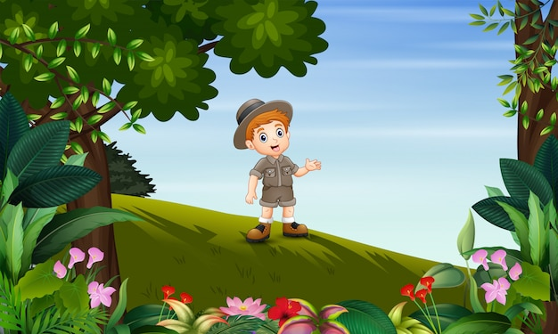 Safari boy exploring the jungle