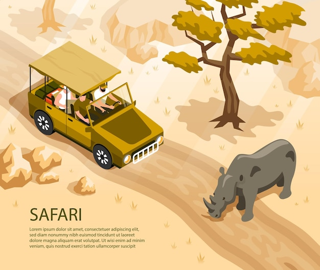 Safari car with tourists and rhino crossing road 3d isometric