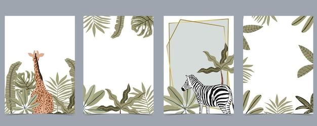 Коллекция сафари с жирафом и зеброй стоят на белом фоне