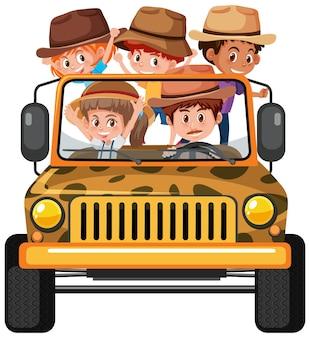 Концепция сафари с детьми в автомобиле джип, изолированные на белом фоне