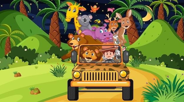 Концепция сафари с дикими животными в автомобиле джип