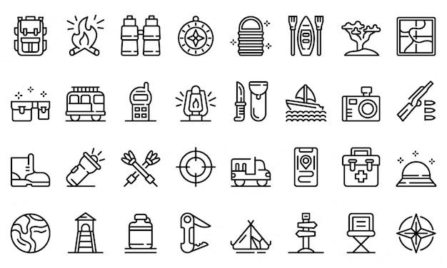 Safari equipment icons set