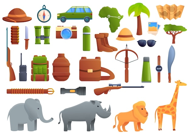 Safari equipment set, cartoon style