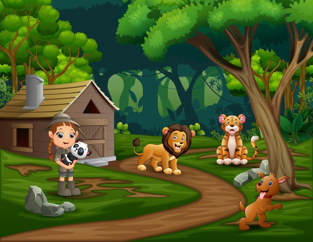 Safari girl with animals at the forest
