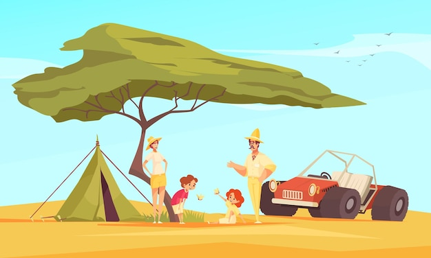 Safari jeep travel adventures flat composition with family in front of tent under baobab tree