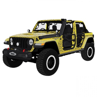 Safari jeep vector illustration
