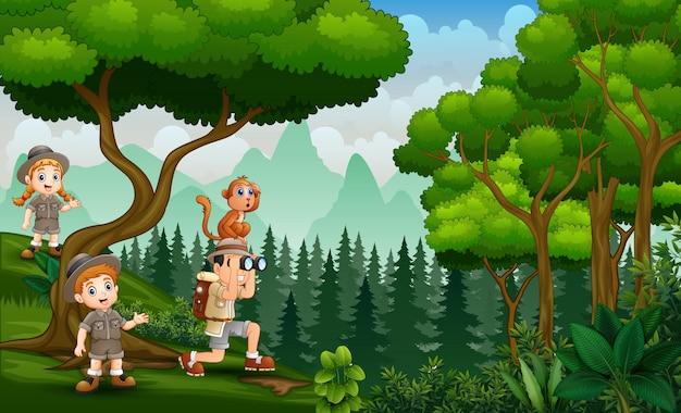 The safari kids exploring nature at daytime
