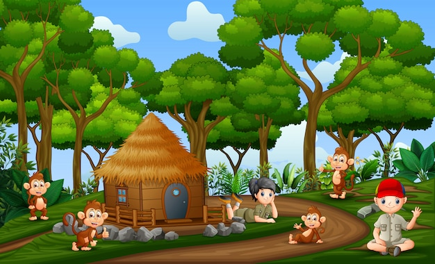 The safari kids with monkeys at the rural