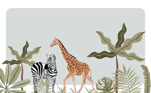 Safari light green background with giraffe and zebra