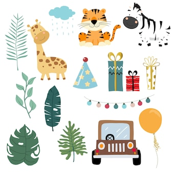 Safari object collection with giraffe, zebra,tiger,car,gift.