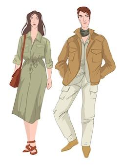 男性女性のためのサファリまたはミリタリースタイルの服