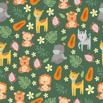 Safari pattern with animals