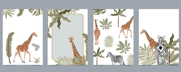 Safari postcards background collection with giraffe, zebra and more wild animals