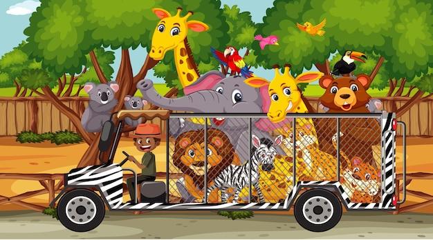Safari scene with wild animals in cage car