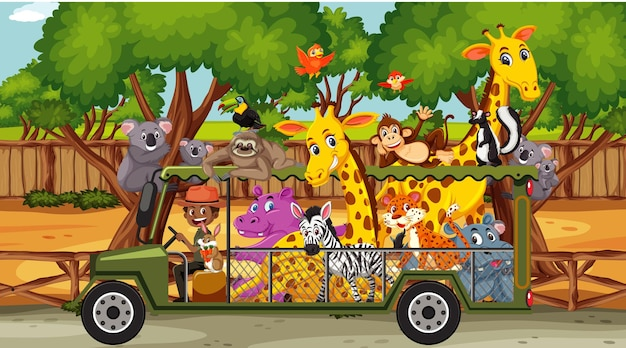 관광 차에 야생 동물과 사파리 장면