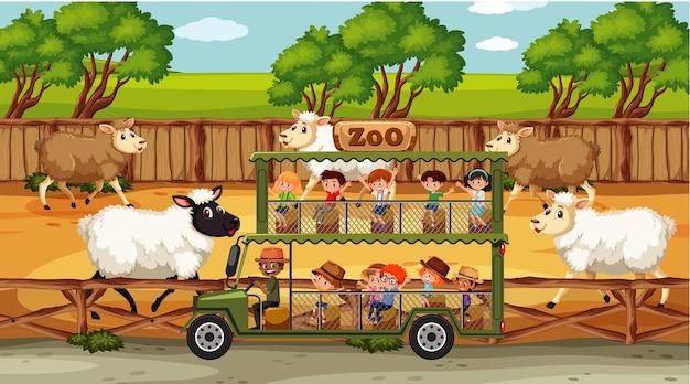 Сцены сафари с множеством овец и мультипликационным персонажем детей