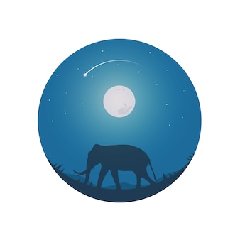 Safari theme elephants full moon and night sky.
