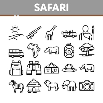 Safari travel collection elements icons set