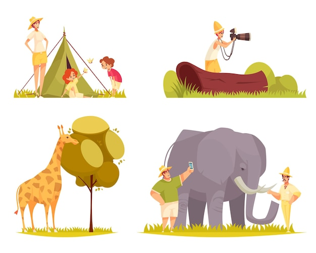Safari travel concept flat funny compositions with giraffe eating tree leaves family outside tent